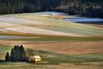 Felder mit Hütte im Glanz der Morgensonne